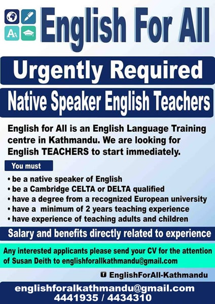 English For all Team: Teachers Wanted